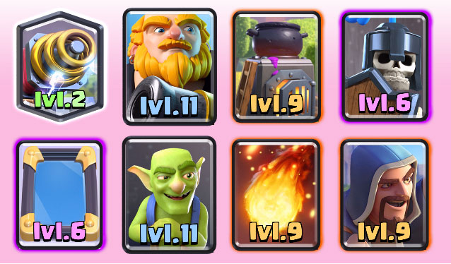 Deck 8: Royal Giant, Barbarians with Minion Horde and Wizard